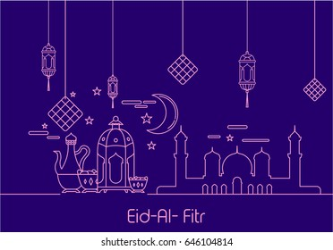 Eid Al Fitr background in mono line style with shadow for Eid and Ramadan mubarak Greeting card, invitation for muslim community. Vector illustration. Eps.10