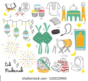 Eid al fitr festival in doodle style vector illustration, idul fitri celebration in indonesia