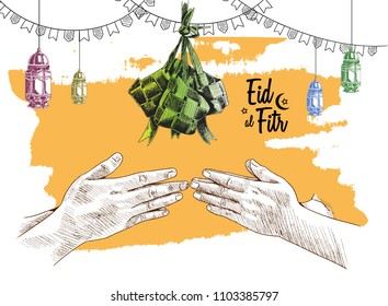 Eid al fitr free hand drawing sketch of ketupat, hand forgive concept, lantern and ribbon on yellow background. Vector illustration for ramadan poster, flyer, greeting card, banner and template