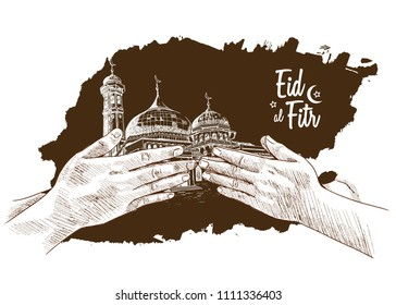 Eid al Fitr hand drawing sketch of hand forgive concept brown background. Vector illustration for ramadan poster, flyer, greeting card, banner and template