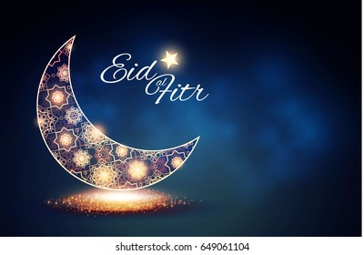 Eid al Fitr. Islamic Holiday. Muslim Feast. Eid Mubarak. Ramadan Kareem. Eid Said. Gold Crescent. Felegree Moon and Lights.. Vector illustration