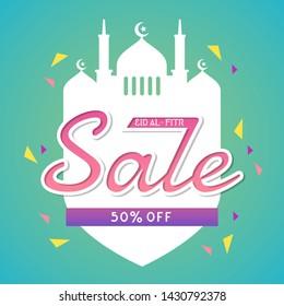 Eid Al Fitr Sale Banner and Poster Design Vector