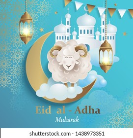 Eid al-Adha Banner.Poster for traditional muslim holiday with sheep, golden ornament,lamp and mosque for happy sacrifice celebration. Islamic greeting card,eid- flyer, poster for social media.