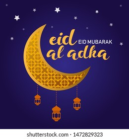 Eid al-Adha banners. A Muslim holiday for Eid al-Adha, gold ornaments and lights for Eid al-Adha celebrations. Islamic greeting cards, eid-flyers, posters for social media. Vector Illustration eps.10
