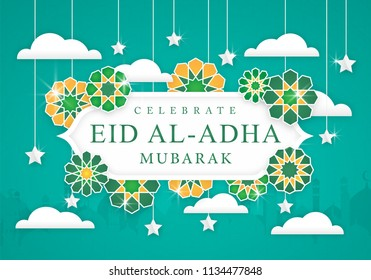 Eid Al-Adha Celebration Background Poster With Modern Concept use For Religion Banner and Greeting card Holiday Festival.