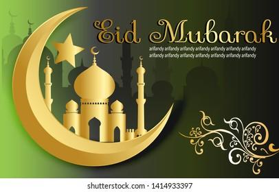 Eid al-Adha designs or Eid al-Fitr with elegant colors accompanied by easily edited text