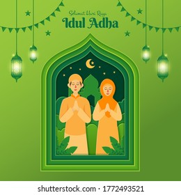 eid al adha children images stock photos vectors shutterstock https www shutterstock com image vector eid aladha greeting card concept illustration 1772493521