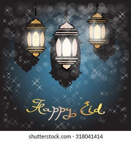 Eid al-Adha greeting card. Happy Eid vector illustration.