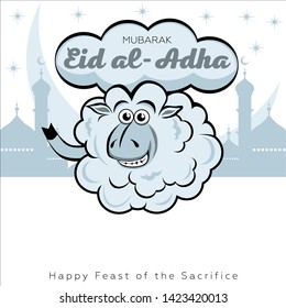 Eid al-Adha, Kurban-bairam Festive card. Curly lamb against the background of clouds and Muslim symbols
