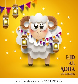 Eid al-Adha Mubarak design. The sacrifice a ram or white and black sheep. Paper cut style. Fanoos lantern decoration.