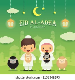 Eid Al-Adha mubarak greeting card. Cute cartoon muslim kids with black sheep and white sheep, fanoos lantern, mosque. Festival of Sacrifice vector illustration.