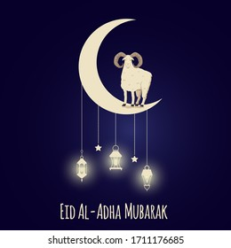 Eid Al-Adha muslim festival of sacrifice banner or card template with sheep on moony sky background, vector illustration. Religious islamic holy holiday poster.