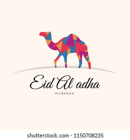 Eid Al-adha text with camel illustration, muslim sacrifice festival. Vector eps 10