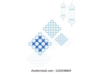 Eid al-Fitr or Bayram of Sweets monochrome geometric greeting card template. Islamic crescent moon, ramadan lamp or lanterns and muslim pattern element.