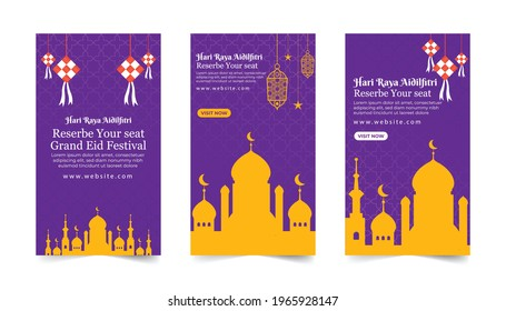 Eid al-Fitr Islamic Instagram story template collection, Ramadan Instagram story, banner with yellow and purple colour