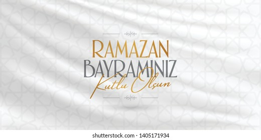 Eid al-Fitr Mubarak Islamic Feast Greetings (Turkish: Ramazan Bayraminiz Kutlu Olsun) Holy month of muslim community Ramazan. Billboard, Poster, Social Media, Greeting Card template.