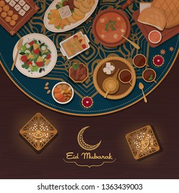 Eid elebration with traditional food recipes, Islamic culture and religion concept