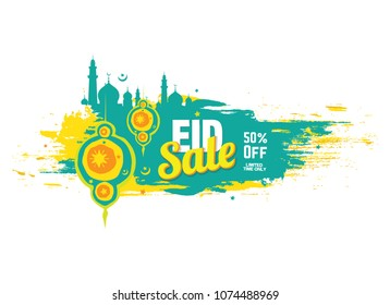 Eid Festival Offer Banner Design with 50% Discount Tag on Abstract Brush Stroke Background - Shutterstock ID 1074488969