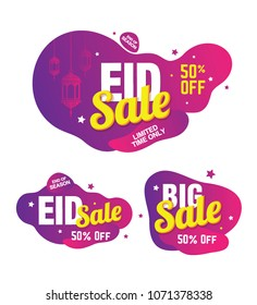 Eid Festival Sale, Offer Design Tag, Sticker with 50% Discount
