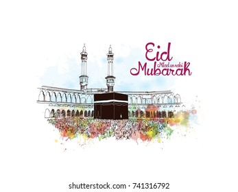 Eid Milad Un Nabi Mubarak design poster with watercolor splash sketch and Mecca Madina Saudi Arabia in vector illustration.