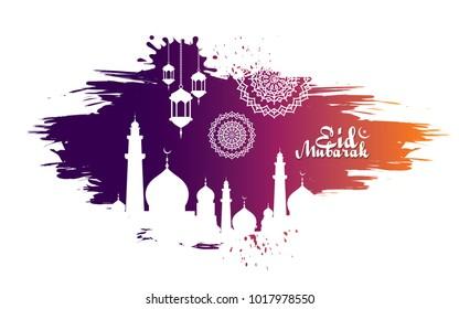 Eid Mubarak Abstract Vector Background Template Design