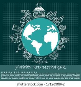 Eid Mubarak or Eid Al Fitr, poster and banner vector