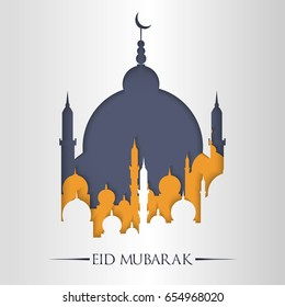 Eid Mubarak or Eid Al Fitr Template Design. Holy Day for Muslim and Islamic People. Vector Illustration. Suitable for poster, banner, campaign, and greeting card