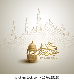Eid Mubarak arabic calligraphy greeting design islamic line mosque dome with classic pattern and lantern - Translation of text : Blessed festival