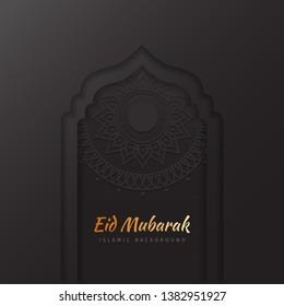Eid Mubarak art paper black islamic background with gold fonts -