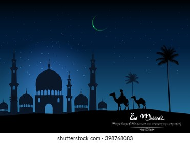 Eid mubarak background with Arabian riding camel and mosque on night.Vector