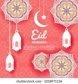 Eid Mubarak background with mandala ornament