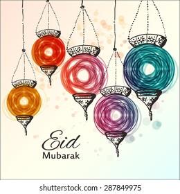 Eid Mubarak background. Eid Mubarak - traditional Muslim greeting. Festive hanging arabic lamps. Greeting card or invitation for Muslim Community events. Vector illustration