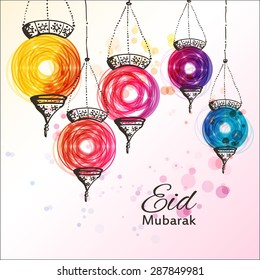 Eid Mubarak background. Eid Mubarak - traditional Muslim greeting. Festive hanging arabic lamps. Greeting card or invitation for Muslim Community events. Vector illustration.