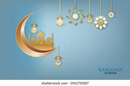 Eid Mubarak Banner , ramadan kareem vector Wishing for Islamic festival.