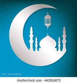 Eid Mubarak (Blessed Eid) moon, mosque and lantern card in vector format.
