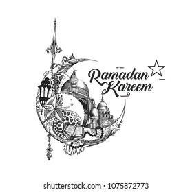 Eid Mubarak celebration- calligraphy stylish lettering Ramadan Kareem text Moon with mosque. Vector illustration.