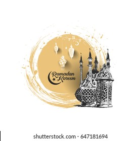 Eid Mubarak celebration- Ramadan Kareem text with mosque. Vector illustration.