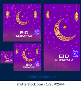 Eid Mubarak celebration social media banner sale discount. Eid Mubarak social media banner set 50% sale discount, Eid Mubarak ads, headers, banner 50% sale discount.