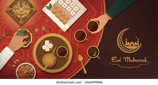 Eid Mubarak celebration with traditional meal: wife and husband drinking tea, eating sweets and dried fruit