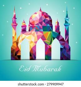 Eid Mubarak Colorful Mosaic Mosque