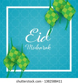 Eid mubarak creative background with ketupat (rice dumpling) is indonesian food for celebrate eid ul fitr or eid ul adha