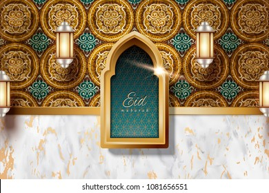 Eid Mubarak design with arabesque decorations and marble stone texture background, lanterns hanging in the air