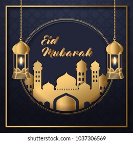 Eid Mubarak Design Background. Vector Illustration for greeting card, poster and banner