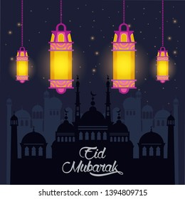 eid mubarak design with islamic lamps