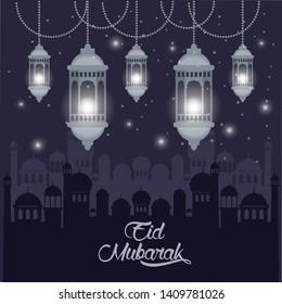 eid mubarak design with islamic lamps icon cartoon vector illustration graphic design