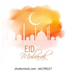 Eid Mubarak design on a watercolour texture