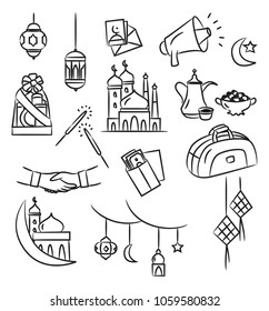Eid mubarak doodle,  idul fitri doodle element