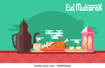 Eid Mubarak Food vector illustration with arabic coffee pot and cup, kabsa, shakshuka and lantern. Flat style vector illustration for Eid greeting card, banner and poster.