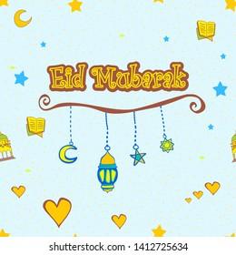 Eid Mubarak Greating Card Kid Colorful - vector