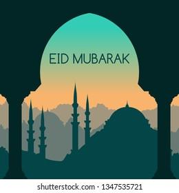 Eid Mubarak Greetig Card with Beautiful Middle Eastern Landscape Vector Illustration